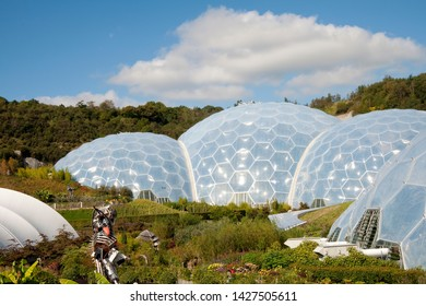 St. Blazey, Cornwall, England, UK - September 27, 2010: Exterior view of the Eden Project Biomes.  Inside the biomes are plants that are collected from many diverse climates and environments.