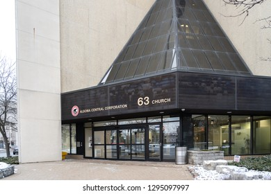 St. Catharines, Ontario, Canada – January 19, 2019: Entrance Algoma central corporation headquarters. Algoma owns and operates the largest fleet of dry and liquid bulk carriers operating on the Great
