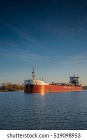 St Catharines, Ontario, Canada - November 15, 2016: The Baie St. Paul lake freighter navigating north through the Welland Canal.