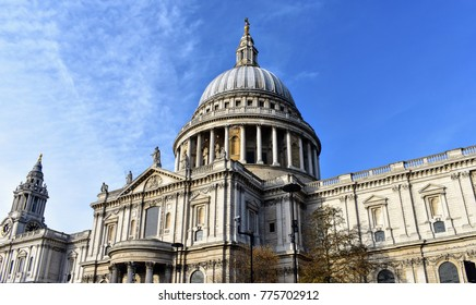 St Paul's Cathedral on a sunny day with blue sky in the background, London.