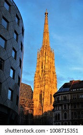 St Stephen's Cathedral in Vienna. Beautiful sunset in the city.