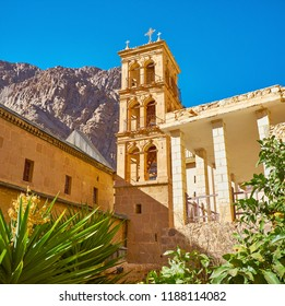 The St Catherine (God-Trodden Mount Sinai) Monastery boasts scenic stone bell tower with arched windows, Sinai, Egypt.