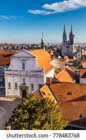 St. Catherine's Church With Cathedral Towers - Zagreb, Croatia, Europe