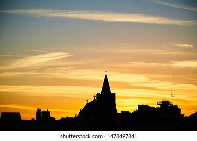 St. Catherine's Church at sunset in Dublin, Ireland