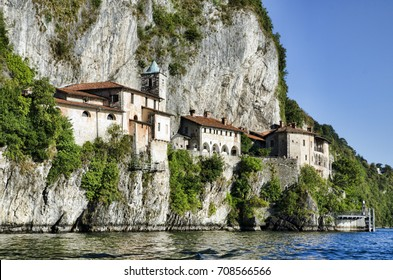 St Catherine's hermitage built into a cliff on Lake Maggiore, in Northern Italy