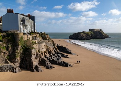 St Catherine's Island - a small tidal island linked to the coastal town of Tenby by Castle Beach at low tide.  Pembrokeshire, Wales in the United Kingdom.