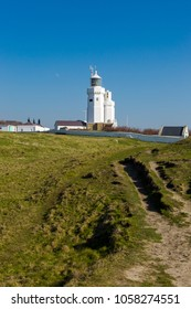 St Catherine's Lighthouse on Isle of Wight at Watershoot Bay in England. Landscape view travel shoot in sunny day with clear blue sky