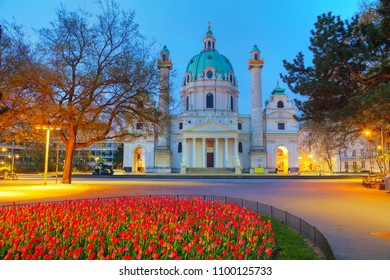 St. Charles's Church (Karlskirche) at sunrise in Vienna, Austria