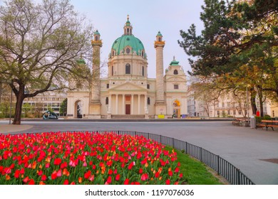 St. Charles's Church (Karlskirche) at sunrise in Vienna, Austria