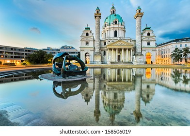 St. Charles's Church (Karlskirche) in Vienna, Austria at sunrise