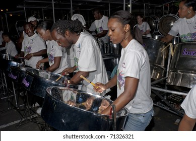 ST CLAIR, TRINIDAD-FEBRUARY 15: Caribbean Airlines Invaders steelband perform for the judges in Panorama 2011 steelband competition, February 15, 2011 in St Clair, Trinidad.