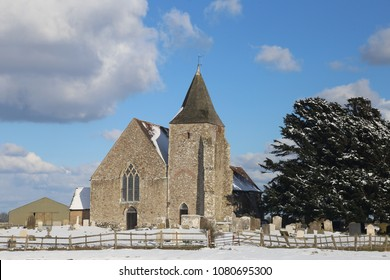 St Clements Church, Old Romney, Romney Marsh, Kent in the snow
