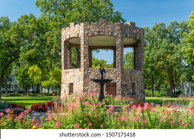 ST CLOUD, MN/USA - SEPTEMBER 15, 2019: Granite Bandstand in Barden Park at St. Cloud State University.