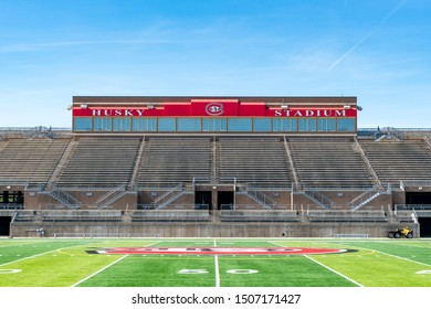 ST CLOUD, MN/USA - SEPTEMBER 15, 2019:  Husky Stadium on the campus of St. Cloud State University.