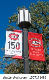 ST CLOUD, MN/USA - SEPTEMBER 15, 2019:  Banner and logo on the campus of St. Cloud State University.