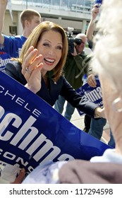 ST. CLOUD, UNITED STATES - OCTOBER 30: U.S. Rep. Michele Bachmann greets an elderly supporter before a debate against Democrat Jim Graves on October 30, 2012 in St. Cloud.