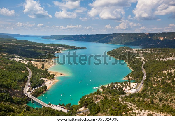 The St Croix lake and The Verdon gorge, Provence France. Top view