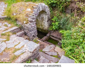 St Davids, Wales, UK – July 10 2019. St Non's Well: An historic and ancient well with healing qualities St Non's Chapel, St Non's Bay on the Welsh coastal path, South Wales