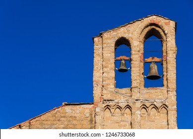 St Dominic medieval church belfry with two bells, in the historic center of Arezzo (13-14th century), with copy space