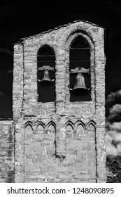 St Dominic medieval church belfry with two bells, in the historic center of Arezzo, 13-14th century (Black and White)