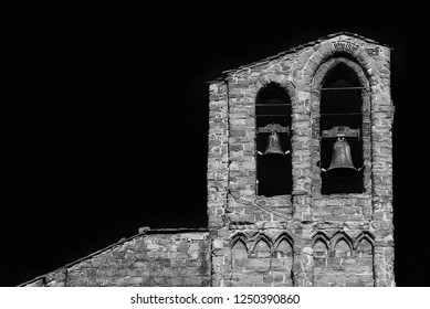 St Dominic medieval church belfry with two bells, in the historic center of Arezzo, 13-14th century (Black and White with copy space)