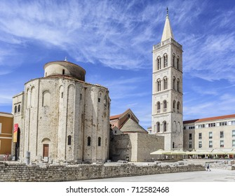 St. Donat church, forum and Cathedral of St. Anastasia bell tower in Zadar, Croatia