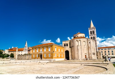 St. Donatus Church and the Bell Tower of Zadar Cathedral. Zadar, Croatia