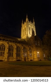 St Edmundsbury Cathedral in Bury St Edmunds at night with path and grass