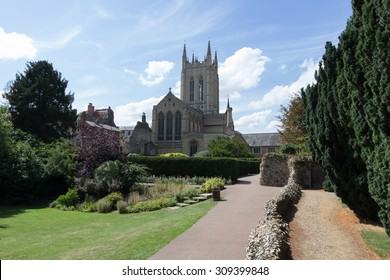 St Edmundsbury Cathedral with gardens and path in foreground