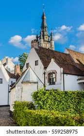 St Elisabeth Beguinage of Kortrijk consists 40 small houses dating to 17th century - UNESCO World Heritage Site. Kortrijk (Courtrai, Courtray) - Belgian city located in Flemish province West Flanders.
