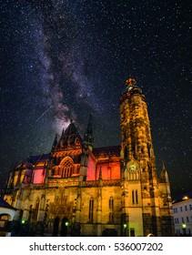 St. Elisabeth Cathedral at night, Kosice, Slovakia, Europe