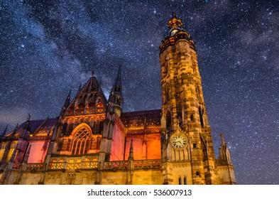 St. Elisabeth Cathedral at night Kosice, Slovakia, Europe