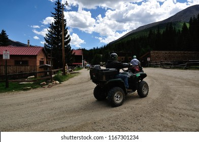 St. Elmo, Colorado - August 27: ATV Riders On The Road in St. Elmo Ghost Town Colorado August 27 2010