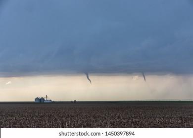 St Francis, Kansas, USA - June 29th, 2019: Developing twin tornadoes in Kansas, USA