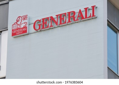 St. Gallen, Switzerland - 14th April 2021 : Generali Insurance company sign on a building in St. Gallen, Switzerland. Generali is one of the ten largest insurance companies in the world