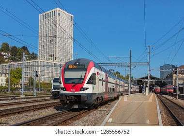 St. Gallen, Switzerland - September 19, 2018: train at the St. Gallen railway station, which serves the city of St. Gallen and is owned and operated by the Swiss Federal Railways company.