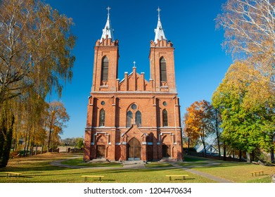 St. George Catholic Church in Zasliai, Kedainiai, Lithuania. Built in 1445-1460, the Gothicchurch was the first brick building in Kedainiai, and isone of the oldest churches in Lithuania.