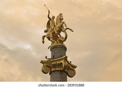 st george statue at Freedom square - Tbilisi, Georgia