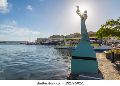 St George statue on the Carnarge of St George's, Grenada, Windward Islands, West Indies, Caribbean, Central America 2 February 2019