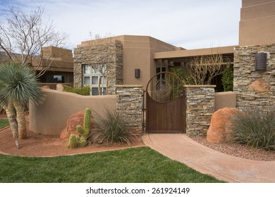 St George, UT, USA - February 16, 2015: Palisades Crestview home at the 2015 St. George Parade of Homes.
