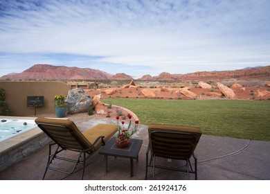 St George, UT, USA - February 16, 2015: Backyard scenic view of Snow Canyon from the Palisades Crestview home at the 2015 St. George Parade of Homes.