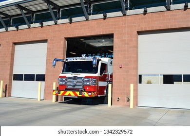St George Utah USA October Ninth, 2018. Pierce Fire Engine Pulling Out Of The Firehouse Located At Saint George Washington County Utah.