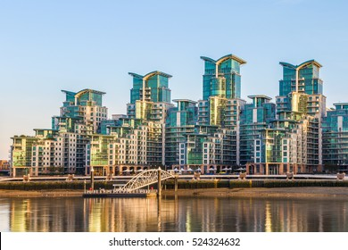 St George Wharf Pier and the exterior of a riverside development in Vauxhall, London