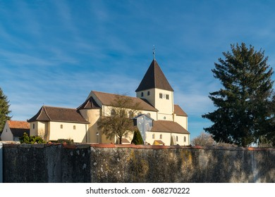 St. George's Church situated on the Reichenau island near Konstanz, Germany. Reichenau is an island in Baden-Wurttemberg in Germany. It is under the UNESCO protection.