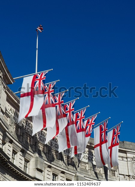 St George's flags in a row