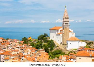 St. George's Parish Church in picturesque old town Piran - Slovenian adriatic coast.