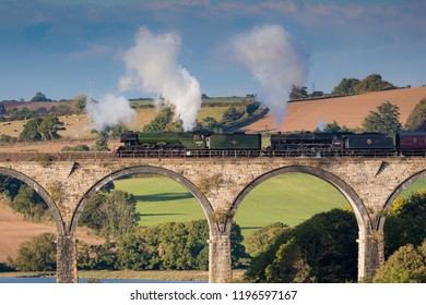 St Germans , Cornwall, UK , 6th October 2018, The Flying Scotsman and Ex BR steam locomotive Stanier Black Five 44871 came to Cornwall crossing the viaduct at St Germans