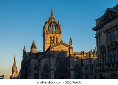 St Giles' Cathedral building at sunset, Edinburgh, Scotland, UK