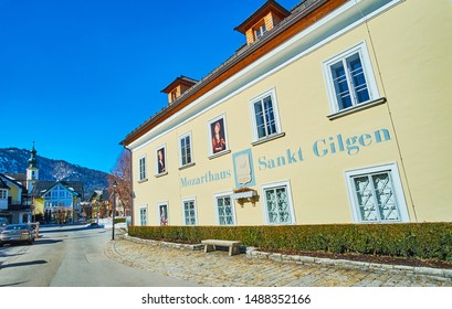 ST GILGEN, AUSTRIA - FEBRUARY 23, 2019: Historical Mozarthaus is one of landmarks of St Gilgen, here was born Mozart's mother, knowadays this memorial functions as museum, on February 23 in St Gilgen