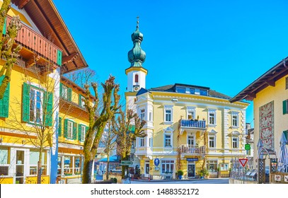 ST GILGEN, AUSTRIA - FEBRUARY 23, 2019: Explore old St Gilgen, walking its streets and watching traditional houses and historical places, on February 23 in St Gilgen